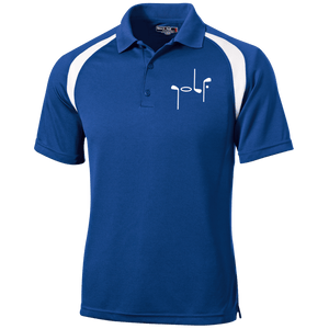 Blue Men's Golf Polo shirt with white shoulder stripe and abstract embroidery