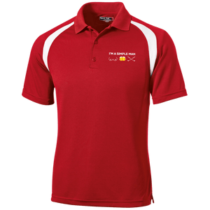 Red and white golf shirt