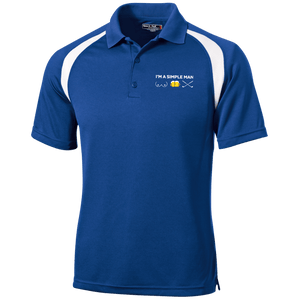 Blue and white golf shirt