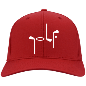 Red Port Authority with Abstract Golf image Flex Fit Cap