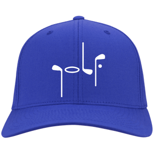 Blue Port Authority with Abstract Golf image Flex Fit Cap