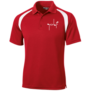 Red Men's Golf Polo shirt with white shoulder stripe and abstract embroidery