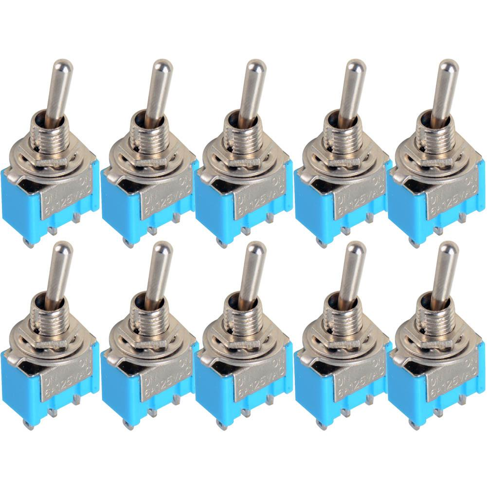 10pc/LOT Blue Mini MTS-102 3-Pin SPDT ON-ON 6A 125VAC Miniature Toggle