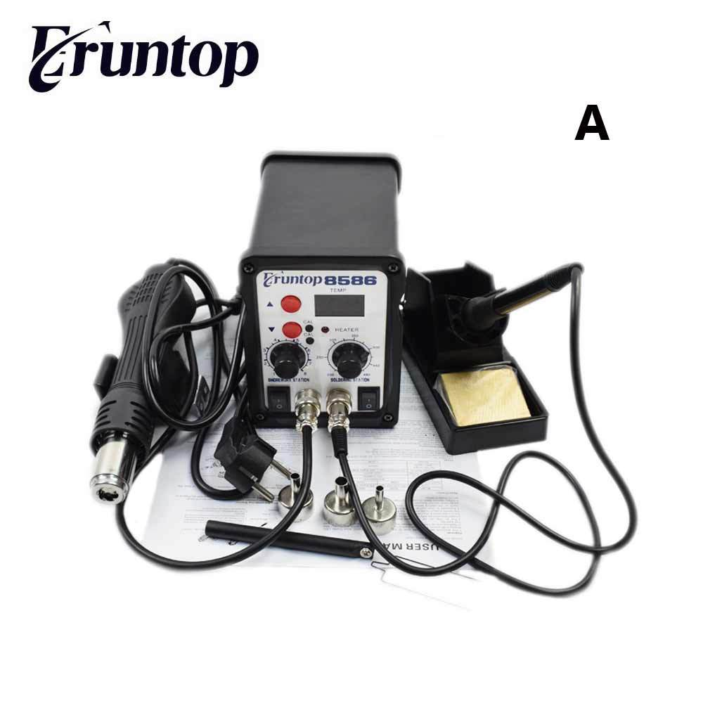 110/220V 750W 2 in 1 SMD Rework Station Eruntop 8586 Hot Air Gun +