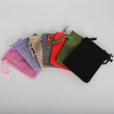 New 7x9cm 5pcs/lot Pick 7 Colors Linen Cotton Jewelry Packing Wedding Gift Drawstring Bags & Pouches Small Gift Bags