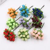 12pcs/lot Artificial Flower 2cm Silk High Quality Rose Bouquet Wedding