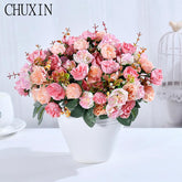 21 Heads/Bouquet Silk Rose European Artificial Flower High Quality