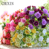 21 Heads/Bunch Silk Mini Rose Artificial Flower Bouquet Decorative