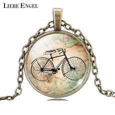 LIEBE ENGEL Vintage Bicycle & Map Glass Cabochon Necklace Bronze