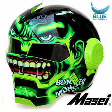Green Giant Hulk MASEI 610 motorcycle helmet IRONMAN Iron Man helmet half helmet open face helmet casque motocross