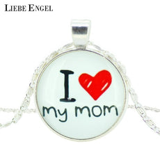 LIEBE ENGEL I love my mom Picture Statet Chain Necklace Glass Cabochon