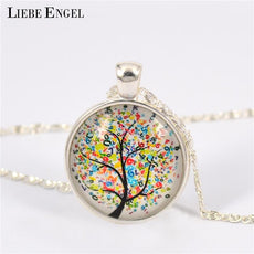 LIEBE ENGEL Vintage Life Tree Necklace Glass Cabochons Statet Necklace