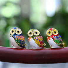 1.5inch 3 Color Owl Metal Figurine Trinket Box Jewelry Ring Holder Earring Stands Storage Box Wedding Case Souvenirs Crafts