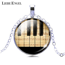 LIEBE ENGEL Piano Keyboard Picture Pendant Necklace Vintage Silver