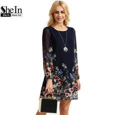 SheIn Boho Dresses For Multicolor Round Neck Long Sleeve Floral