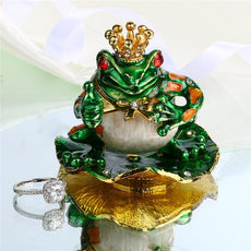 2.7 Metal Figurine Frog Trinket Box Ring Holder Earring Jewelry Stands Storage Box Wedding Jewelry Case Souvenirs Crafts