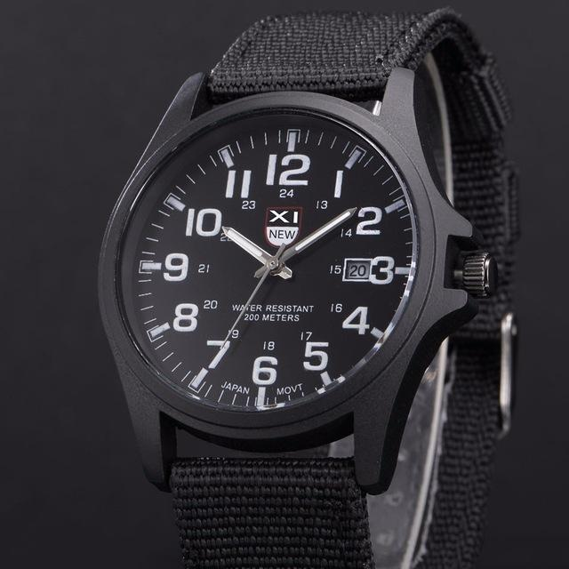 Famous XINEW Date Quartz Watch Army Soldier Military Canvas Strap