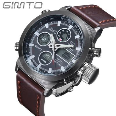 GIMTO Quartz Digital Sports Watches Leather Nylon LED Military Army