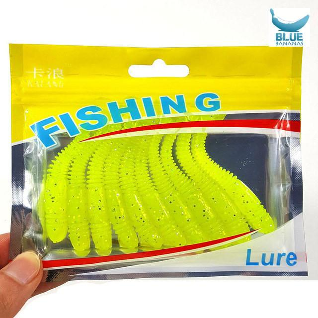 10Pcs/Lot Lures Soft Bait 75mm 3.2g silicone bait Worms fishing lure
