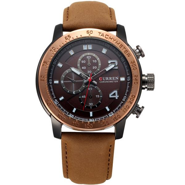 Curren Watches Quartz Hour Clock Leather Strap Sports Dress Wrist