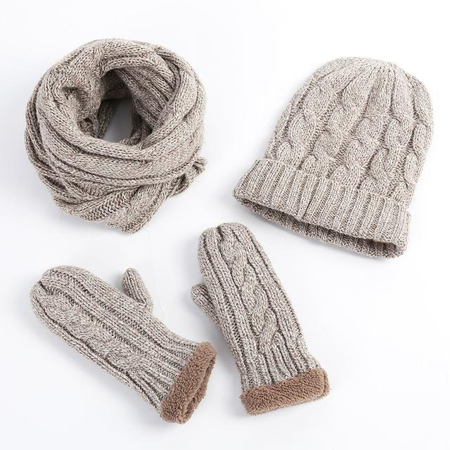 Knitted Beanie Plus thick velvet Hat Scarf Gloves Set Wio Scarves 3