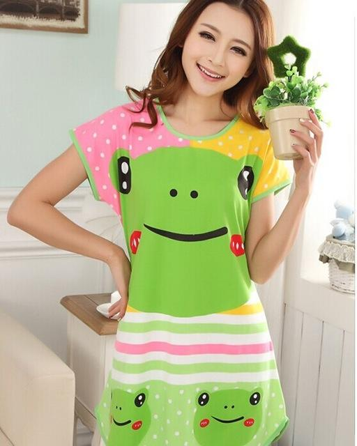 Cheap Female Short-sleeve Cotton sweet Nightgown sleepwear Comtable