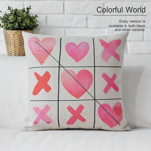 Pillow case Decoration Linen Cotton Love Valentine Pink 3D Printing