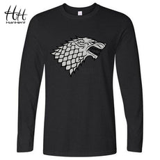 HanHent is coming Direwolf T-shirt House Stark Cotton T-shirt Casual Long Sleeve T shirt Game of Thrones LT0460