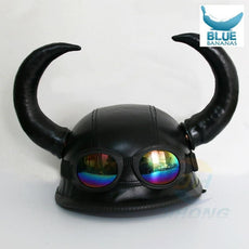 ABS & PU personality Vikings style street motorcycle bike bicycle cruiser retro vintage Harley horns half helmet + goggles horns