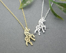 Kinitial Gold Silver Unicorn Horse Necklace For friend Unicorn Horse