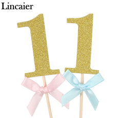 Lincaier 10 Pieces First Birthday Cupcake Toppers 1st Party