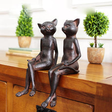 American Retro Cat Figurine 2PCS/SET table sitting room furnishing articles Home Decoration