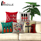 45x45cm UK London phone booth bus models linen cushions London sofa