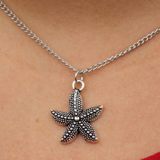 collier Hot Collares Love Vintage Silver Plated Starfish Pendant