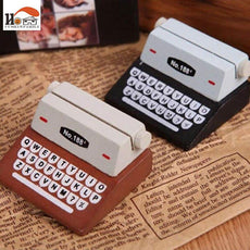 1 x CUSHAWFAMILY Mini Retro Typewriter desktop figurines, wooden message note clip pictures photo holder Home decor Arts crafts