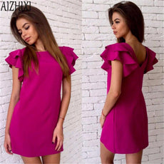 AIZHIXI Fshion Butterfly Sleeve Backless Solid Straight Dress Woman