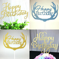 1pc DIY Cupcake Cake Topper Multi-Shape Happy Birthday Cake Flags