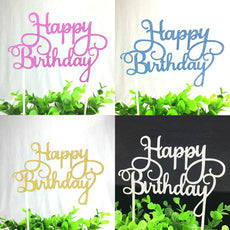 1pc Multi-color Cupcake Cake Topper Happy Birthday Cake Flags Double