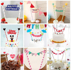 1pc Multi-shape Cupcake Cake Topper Cartoon Cake Flags With Paper