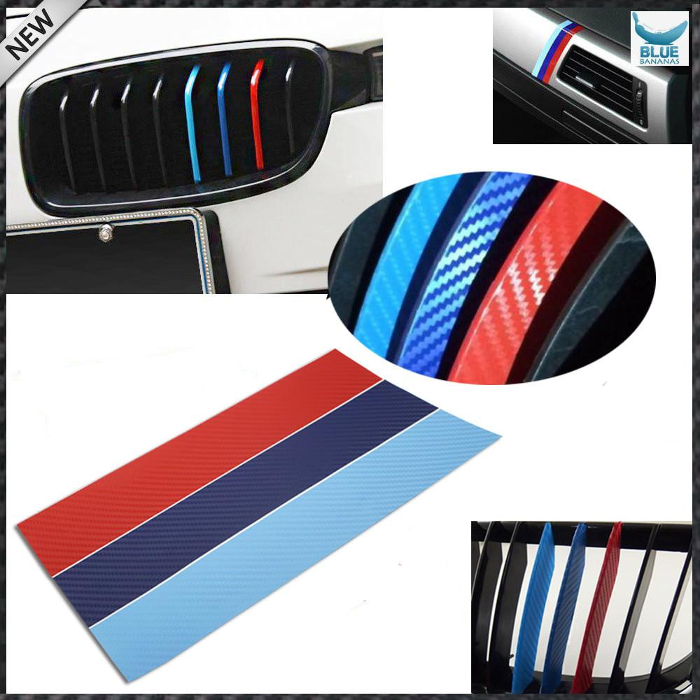 (1) 4D Carbon Fiber M-Colored Stripe Decal Sticker For BMW Exterior or