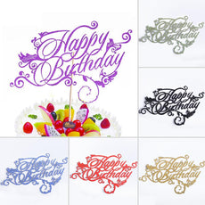 Artistic Fonts Happy Birthday Cupcake Cake Topper Cake Flags Family