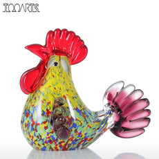 Tooarts Multicolor Rooster Figurine Glass Miniature Figurine Home Decor Animal Ornat Glass Handicraft For Home Garden