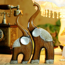 home decor Resin lovers mother-child like wood grain home decoration technology gift a pair of elephant resin animal figurine
