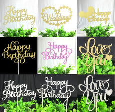 1pc Happy Birthday Cake Toppers Multi Colors Cake Flag Love Wedding