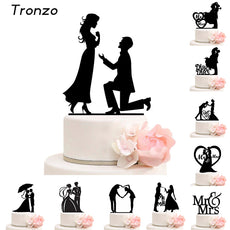 Tronzo Cake Topper Wedding Mr Mrs Acrylic Black Toppers Romantic Bride