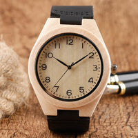 Cute Minimalist Nature Wood Watch Creative Black Leather Band Watches Arabic Number Analog Wristwatch Gift 2018 New