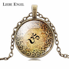 LIEBE ENGEL est OM Yoga Glass Cabochon Necklace Bronze&Silver