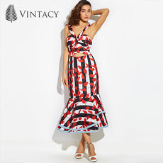 Vintacy Designer wo mermaid maxi dress Bowknot red summer Backless