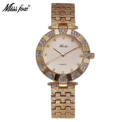 9a7406fc784 Miss Fox Watch Ladies Gold Watch Quartz Simple Clock Reloj Mujer – Blue  Bananas