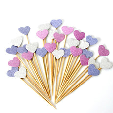 40 Pieces/Lot Handmade Lovely Pink Heart Cupcake Toppers Cake Party